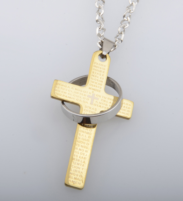 Chapado En oro Negro Azul 5 colores de Letras de Acero Inoxidable de La Biblia Cruz Colgante De Collar de Hombres Hombres de La Moda de Joyería(China (Mainland))