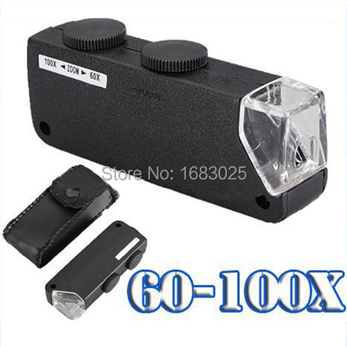 High Quality New Mini Handheld 60X-100X Zoom Magnifier Microscope Jewelers Loupe Magnifying Glass LED Light(China (Mainland))