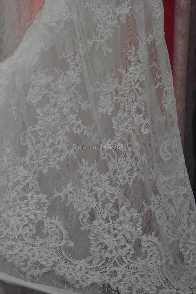 Buy 100 high quality french lace fabric for Wedding dress fabric stores
