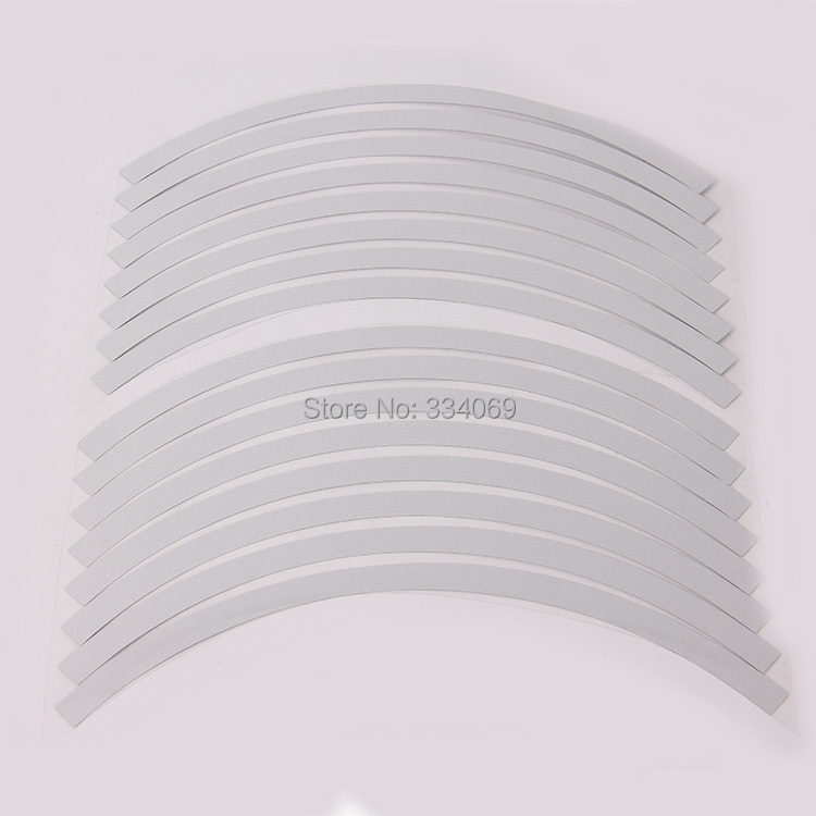 "Car Motorcycle 10""-12"" Wheel Rim Stripe Tape Reflective Stickers White Decal 16 Pieces/Set Universal Fit(China (Mainland))"