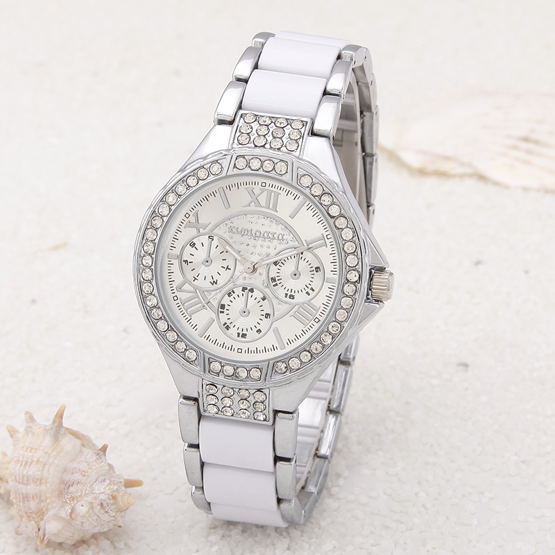 3Colors Women's Crystal Stainless Steel Wrist Watch Analog Baracelet Watch Classic Round Rhinestone Watches Ladies Casual(China (Mainland))