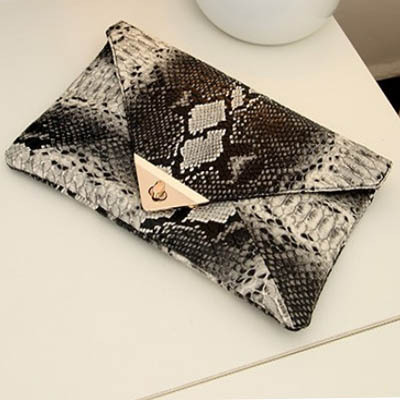 2015 New Fashion Women's Synthetic Leather Bag Snake Skin Envelope Bag Day Clutches Purse Evening Bag YK80-78(China (Mainland))