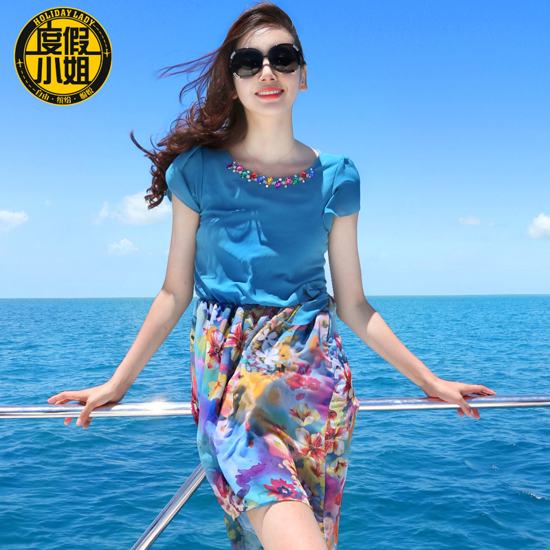 2015 summer beach dress bohemia short skirt female print chiffon short-sleeve - jacket .jackets store