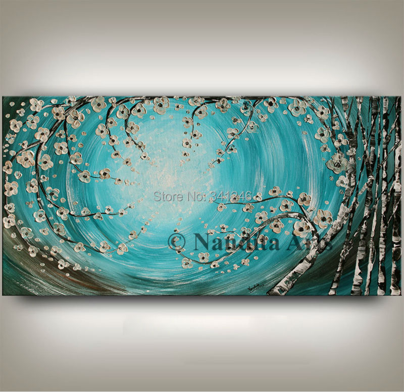 home decor wall art picture turquoise flower brich tree thick paint