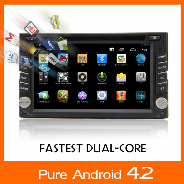 Universal 2 din Android 4.2 In Car DVD player GPS+Wifi+Bluetooth+Radio+2GHZ CPU+DDR3+Capacitive Touch Screen+3G+car pc+aduio<br>