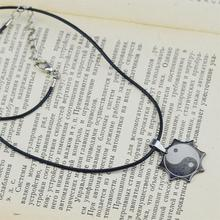 New Titanium Stainless Steel Necklace Yinyang Taichi Pendant Wax Rope Chain Fashion Jewelry For Men Women