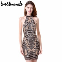 Buy Love&Lemonade Sexy Sequined Lace Halter Party Dress Black TB 9768 for $35.99 in AliExpress store
