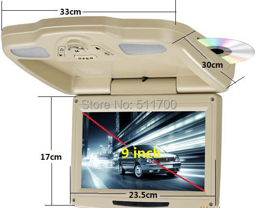 9'' Car Overhead DVD Player,FM/IR,IR,USB,SD,MP3,MP4 Auto Roof Mount Flip Down Monitor,800x480(China (Mainland))