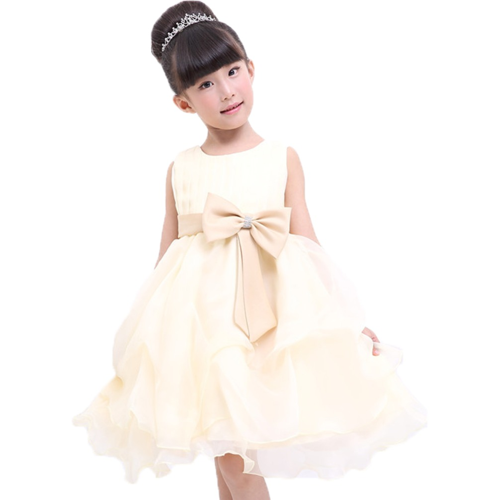 Girls Dress Wedding Party Photograph Clothing Kids Sleeveless Ball Gown Birthday Party Bow Princess Sweet Dresses<br><br>Aliexpress