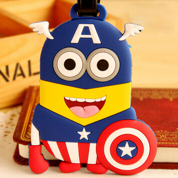Despicable Me Minions Captain America Totor Kitty Cute Cartoon Scholl Bus Luggage Bag Tag(China (Mainland))