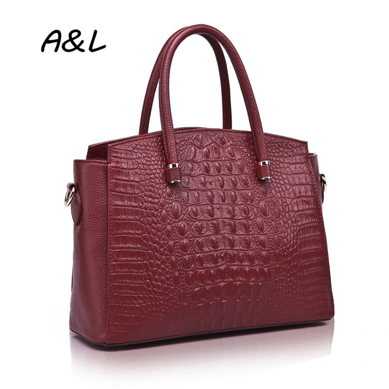 100% Genuine Leather Handbag Women Brand Designer Crocodile Grain Tote Office Lady Fashion Casual Shoulder Messenger Bag A0044(China (Mainland))