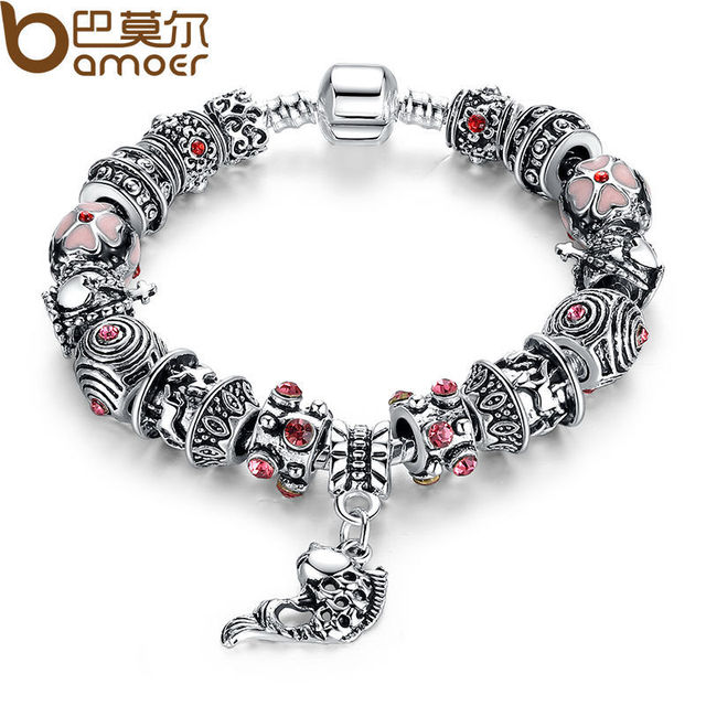 BAMOER Drop Shipping Fish Charm Bracelet Tibetan Silver Murano Glass For Women Fashion European Style Jewelry PA1236