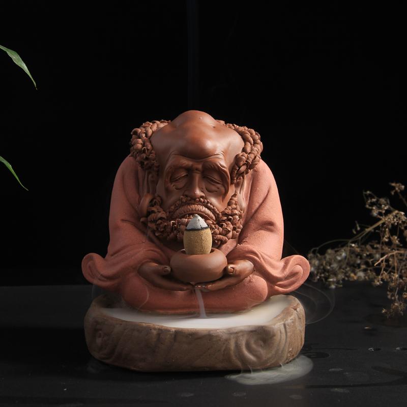 Dharma purple sand pottery incense aroma oven ceramic disc back Bodhidharma Maitreya tea pet ornaments tower incense Tao Special(China (Mainland))