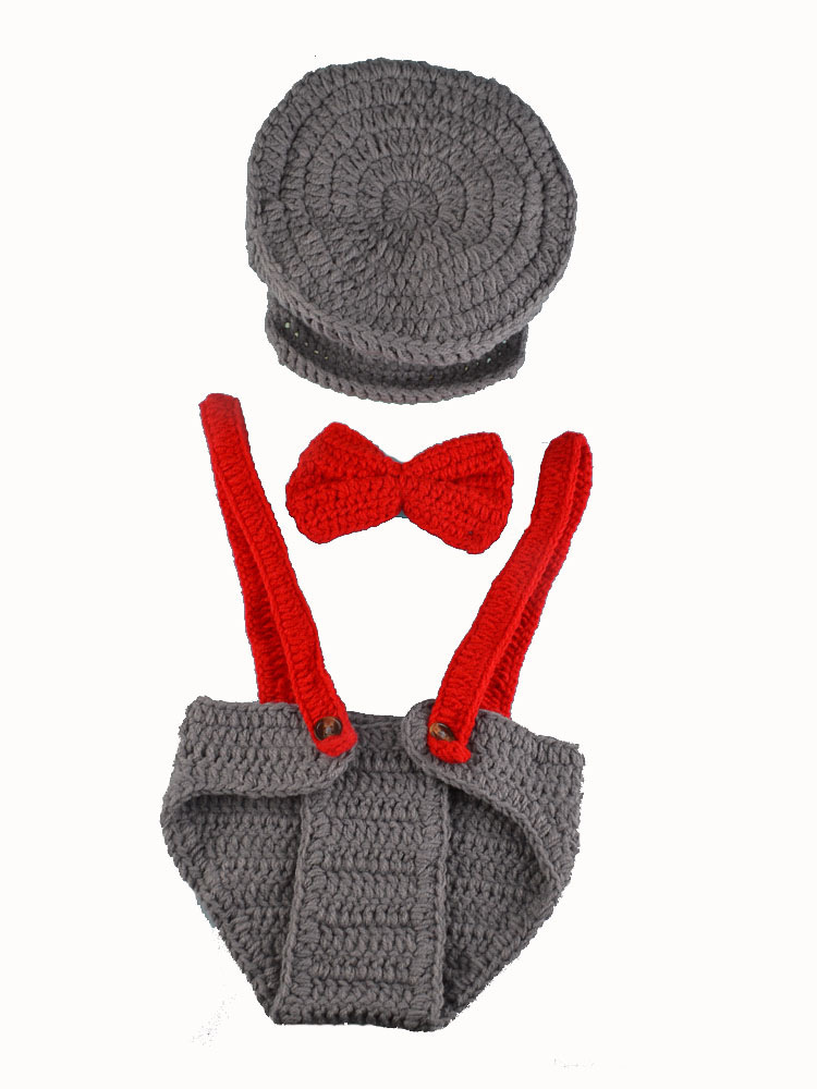 Гаджет  1set Infant Baby Boys Girls Knit Crochet Newborn Photography Photo Props Hat Overalls Pilot Fit 0-12 Months Crochet Outfits None Детские товары
