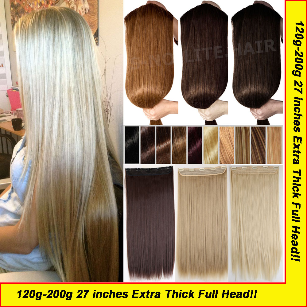 "100% Real Thick Maga Long 27"" Clip in Hair Extensions Full Head Hair Extension One Piece Straight Hair piece as remy hairstyle(China (Mainland))"