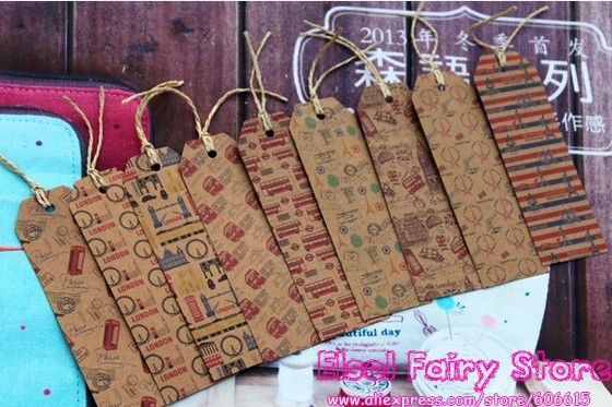 New!( 9 Designs,135pcs/lot) 9 Retro Design mix High Quality Printed Gift PatternTags, Old time Bookmark, Gift tag(Hong Kong)
