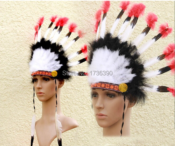 Free shipping 2015 Indian Headdress with Feather for Carnival Accessor Indian Chief Headband(China (Mainland))