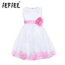 2016 Flower Girl Dresses For Wedding Pageant Prom Party White Dress Baby Kids Clothes Little Toddler Children Bridesmaid Dress(China (Mainland))
