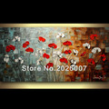 High Quality White Red Poppies Hand Painted Palette Knife Abstract Oil Painting Canvas Wall Living Room