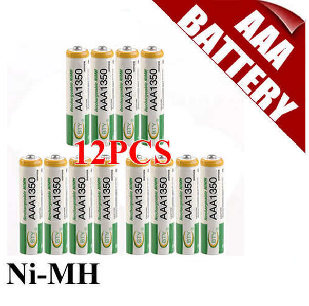 BTY AAA 1350 Rechargeable Ni MH Battery for LED Flashlight Toy PDA B 12PCS Lot