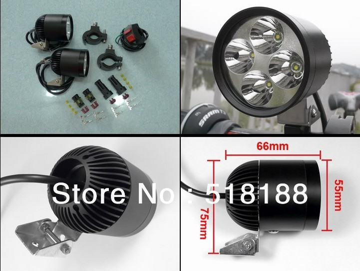 Brand New Waterproof hid White 12VDC 24W CREE 4 LEDs Spotlight 2000Lm x 2 = 4000Lm for Bicycle, Motorcycle, ATV, Car, Boat<br><br>Aliexpress