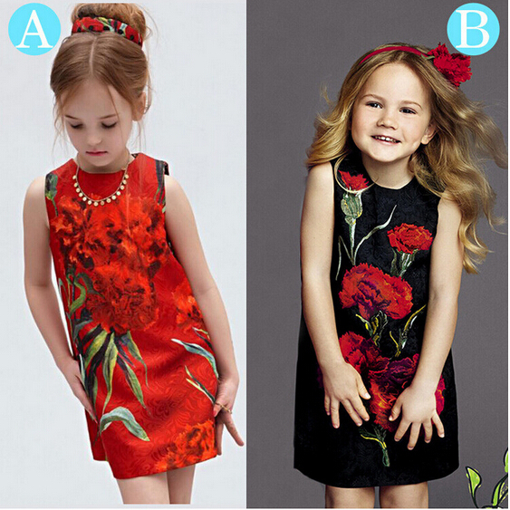 New 2015 Summer Girl Dress Princess Children Dress Flower Sleeveless Kids Dresses Baby Girls Costumes Easter Dress 2-7Y(China (Mainland))