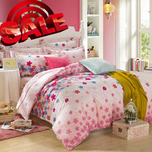 100% COTTON brown dorm room warm import 2015 colorful LUXURY coverlid classic PINK PLANT ADULTS 4PCs QUEEN SIZE bedding sets(China (Mainland))