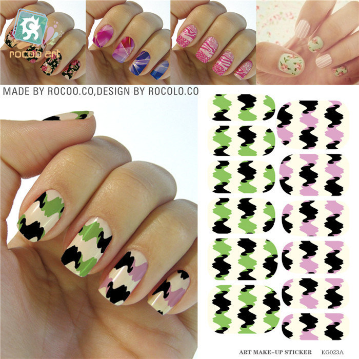 Airbrush nail stencil Designs Full Cover Manicure Decals Nail Stickers Color Wavy Stripes Nail Art Water Transfer Foils Sticker(China (Mainland))