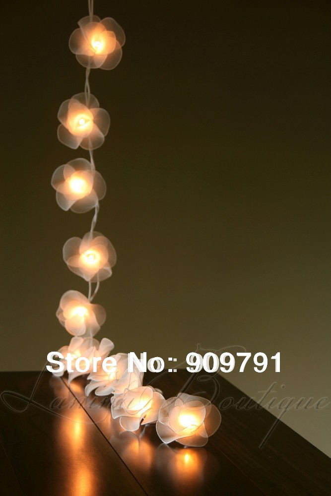 Free Shipping!!! 3Meters 20 latterns SILK FLOWER STRING LIGHTS PARTY,HOME,BEDROOM,DECORATION ...