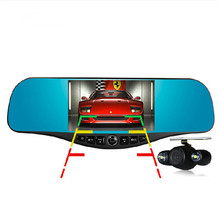 5.0inch top grade car rearview mirror camera full hd 1080p car dvrs parking dual lens car camera dvr video recorder night vision(China (Mainland))