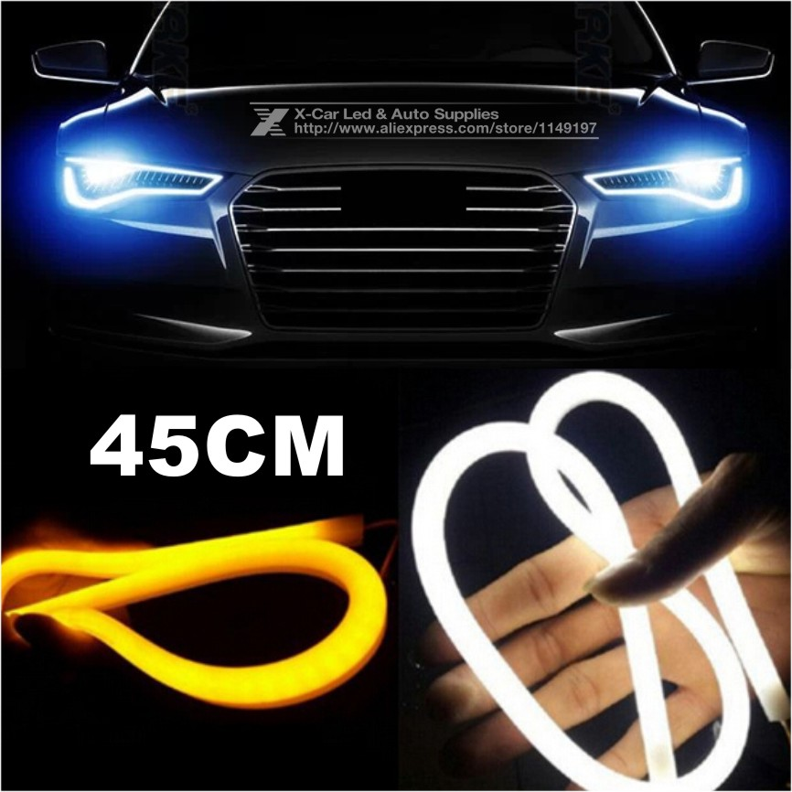 2x 45cm Daytime Running Light Universial Flexible Soft Tube Guide Car LED Strip White DRL and Yellow Turn Signal Light(China (Mainland))