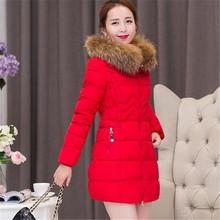 Winter 2016 New Fashion Women Medium long Slim Warm Cotton Down Jacket Hooded Fur collar Thicken Big yards Pure color Coat G0253