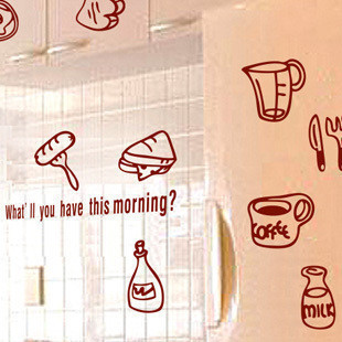 Breakfast milk bread coffee kitchen wall stickers decoration decor home decal fashion cute waterproof house glass cabinet - cc 414349 store