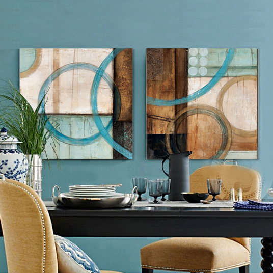 Blue and brown circles modern abstract oil painting canvas wall art free shipping decorative artist for home office(China (Mainland))