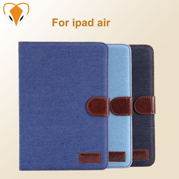 For ipad air china free shipping protective shell magnetic denim cowboy holster Leather Case Cover for Apple ipad 5 tablet pc(China (Mainland))