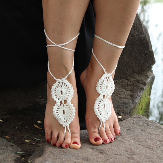 Crochet Barefoot Sandals Handmade Anklets jewelry anklet bracelet foot beach ankle SEXY accessories Valentine gift for women(China (Mainland))