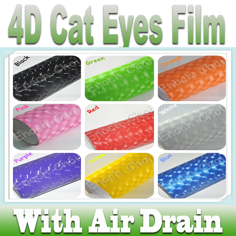 4D Cat Eyes Sparkling Flashing Vinly Sticker Film with Bubble Free protective film for cars Carbon Fiber Vinyl sticker wrap car(China (Mainland))