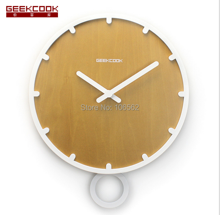 Hot home decoration living room swing solid wood pendulum wall clock modern design relogio de - Contemporary wall clocks with pendulum ...
