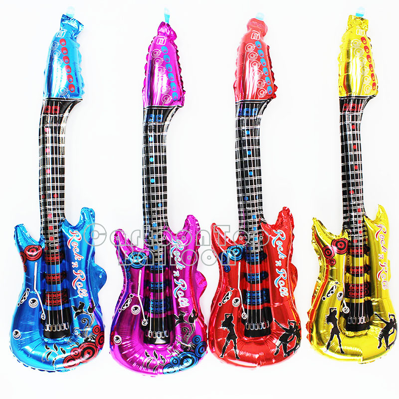 Hot 20pcs/lot 31INCH length Guitar Cheering foil balloon air globos sticks for wedding birthday party decorations kids toys(China (Mainland))