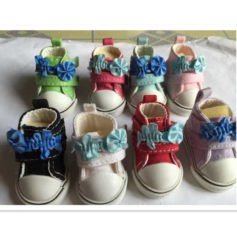 5 CM Causal Canvas Shoes 1/6 BJD Doll Shoes with Flower,BJD Snickers Mini Toy Boots,Fashion Doll Accessories 12 Pair/Lot(China (Mainland))