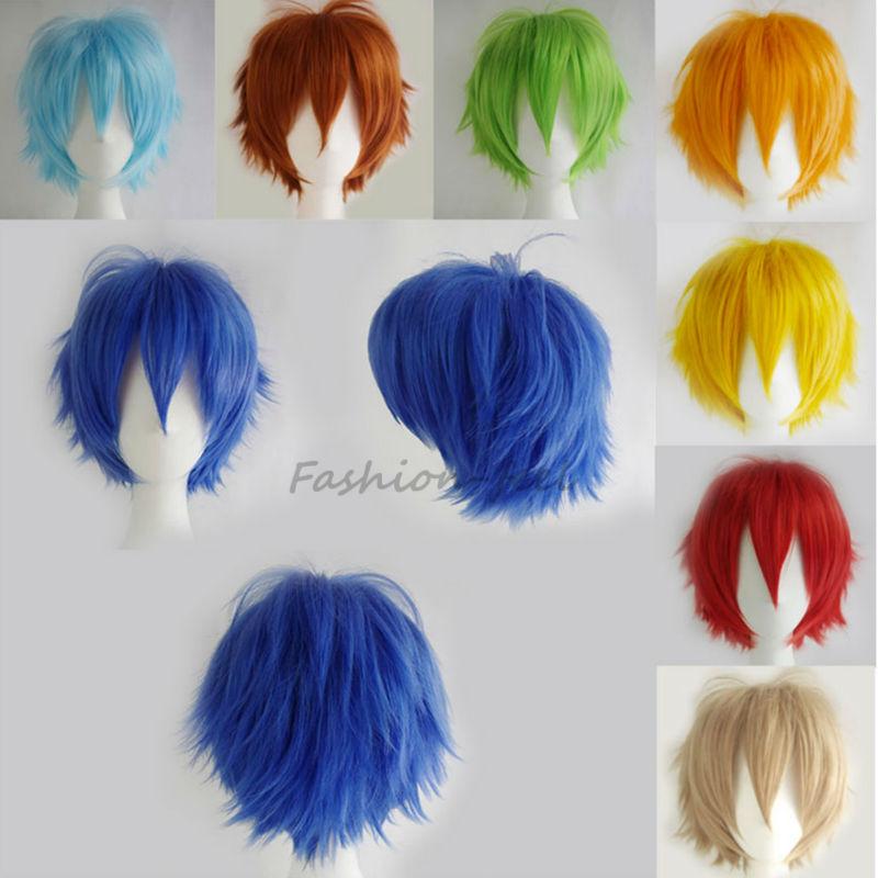 2016 Fashion Women Men New Style Short Hair Wigs Heat Resistant Black Pink Red Full Head Wig Wonderful Cosplay Dress(China (Mainland))