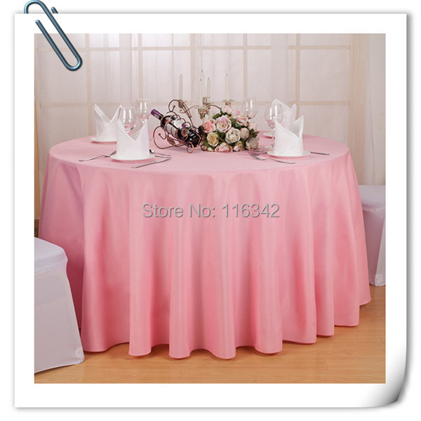 "Big Discount & Factory Price!!! 132"" Dia Visa Round 100% Polyester Pink Table Cloth With FREE SHIPPING(China (Mainland))"