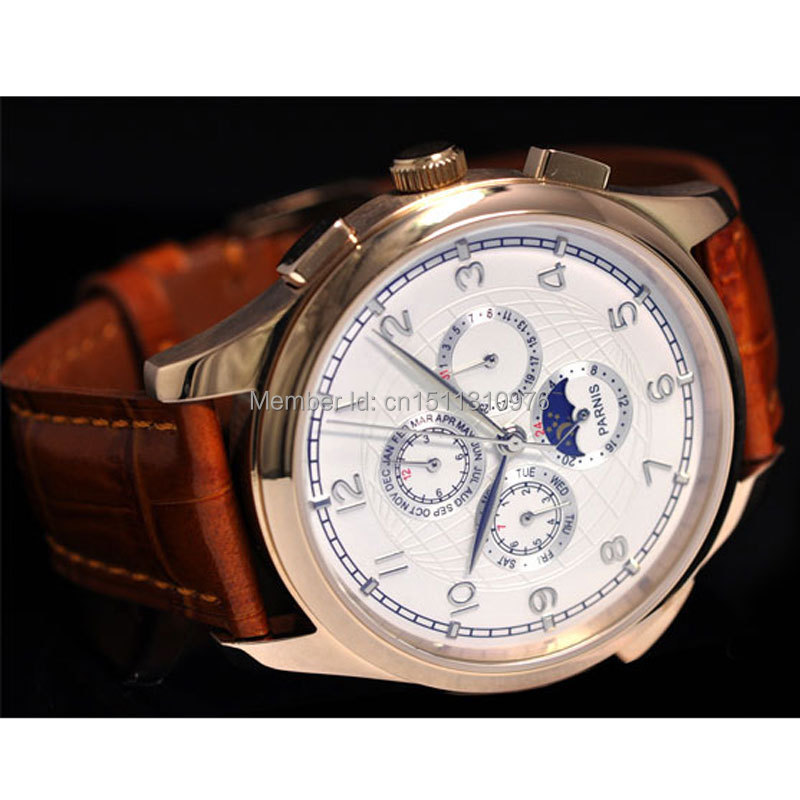 44mm parnis white dial gold plated case week day date Moon Phase multifunction automatic mens watch 19 - mywatchcode Store store