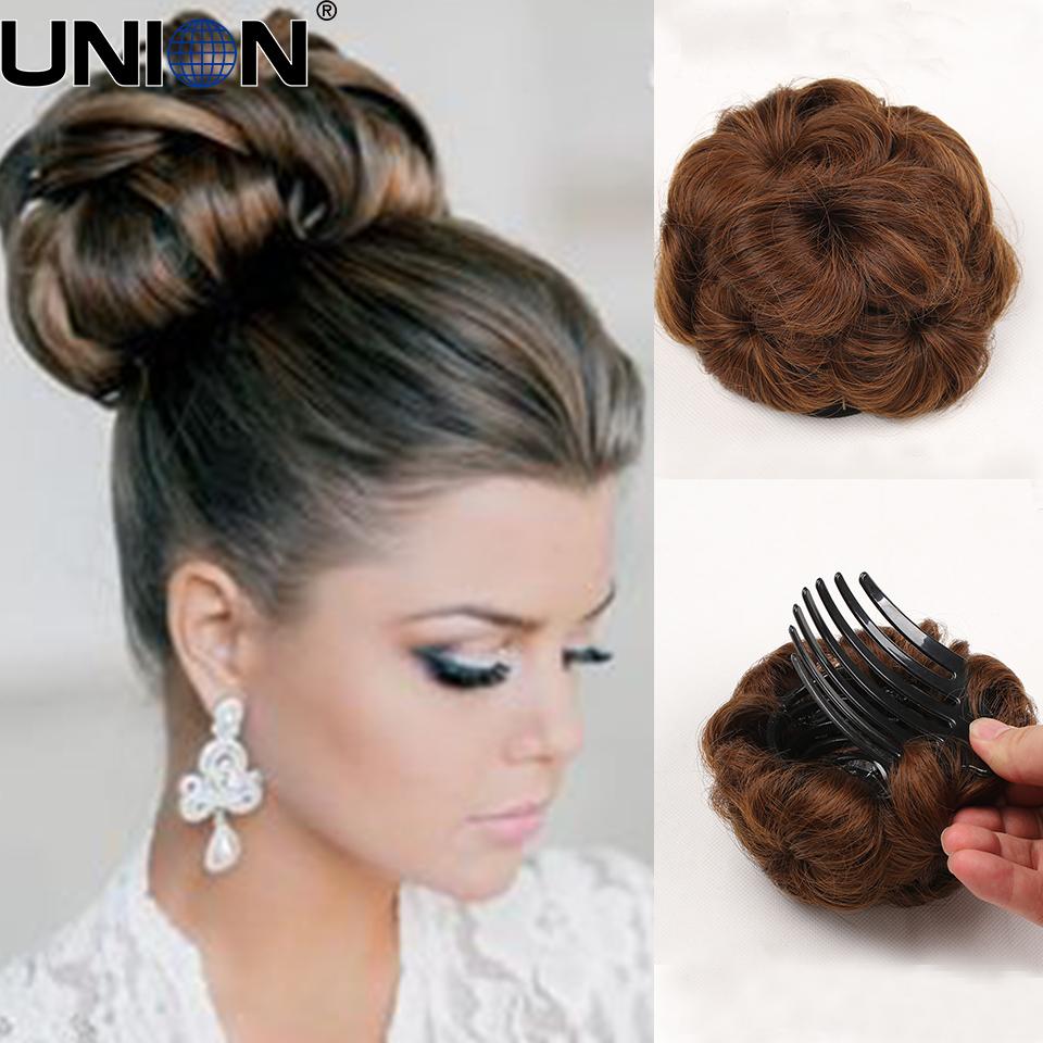 naturel synthtique cheveux style accessoires chignon chignon marie boucls postiche postiches bun la mode dans - Postiche Chignon Mariage