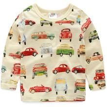 2016 spring children's clothing  baby boys clothing kids car cartoon clothes long-sleeve T-shirt basic shirt