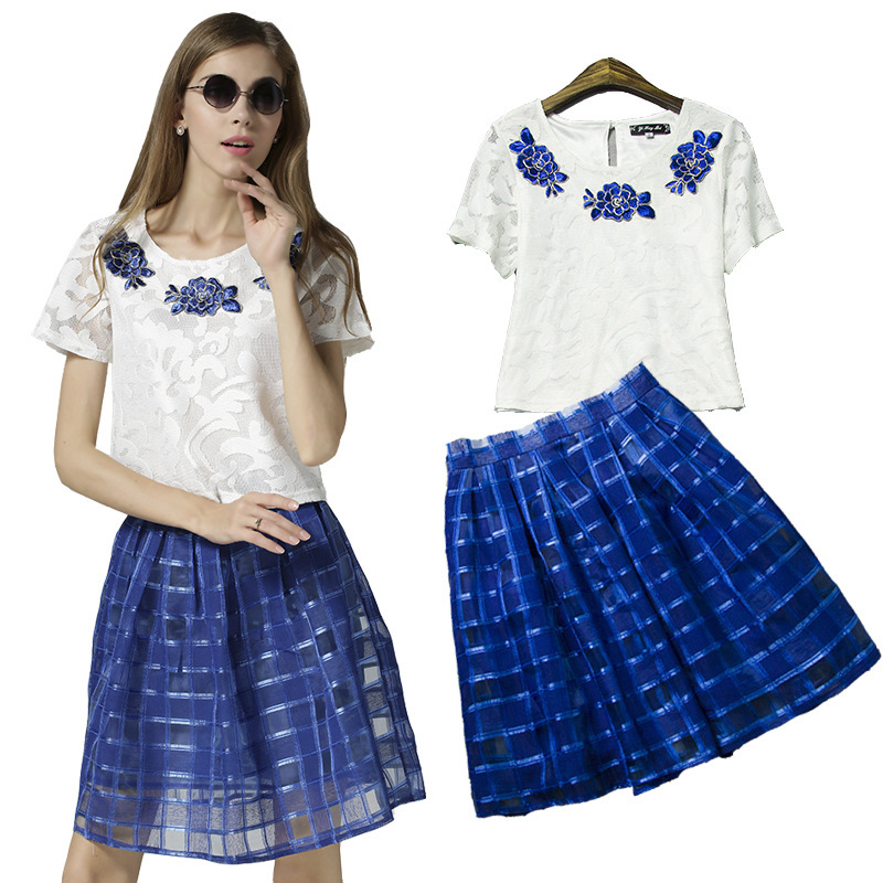 2015 two skirt lace two set skirts and top new summer conjunto saia e blusa