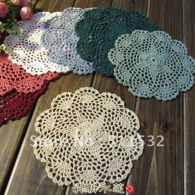 Free shipping 20cm Handmade Crochet 100% Cotton Round table mats Coaster mat pad Doily,6 colors 10pices/lot,C01017