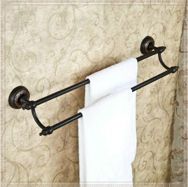 Oil Rubbed Bronze Double Towel Bars Wall Mounted Bath Towel Rack Basin In Towel Racks From Home
