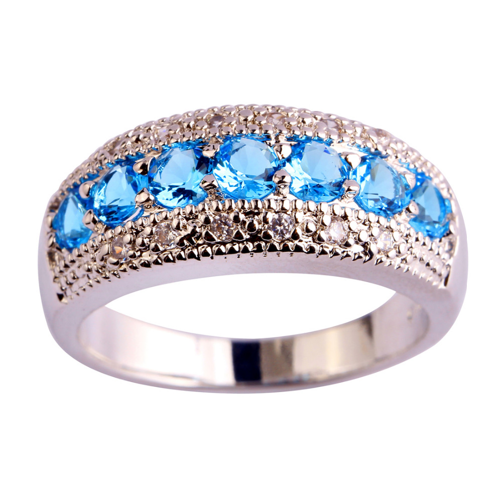 New Women Fashion Jewelry Exquisite Round Cut Blue Topaz Silver Band Ring Size 6 7 8 9 10 11 12