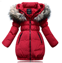 2015 children's winter Slim down jacket girls long sections thick Down jacket kids girls duck down jacket outwear coat(China (Mainland))